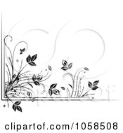 Royalty Free Vector Clip Art Illustration Of A Black And White Ornate Floral Corner Border Design Element 4