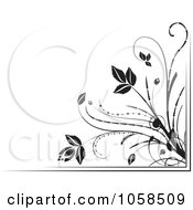 Royalty Free Vector Clip Art Illustration Of A Black And White Ornate Floral Corner Border Design Element 6 by MilsiArt