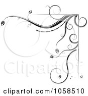 Royalty Free Vector Clip Art Illustration Of A Black And White Ornate Floral Corner Border Design Element 2 by MilsiArt