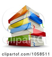 Royalty Free Vector Clip Art Illustration Of A Stack Of Colorful 3d Books With Ribbon Markers And A Shadow