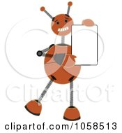 Springy Orange Robot Holding A Blank Board