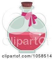 Royalty Free Vector Clip Art Illustration Of A Bow On A Round Bottle Of Love Potion