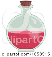Royalty Free Vector Clip Art Illustration Of A Round Bottle Of Love Potion by Melisende Vector