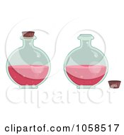 Royalty Free Vector Clip Art Illustration Of A Digital Collage Of Round Bottles Of Love Potion by Melisende Vector
