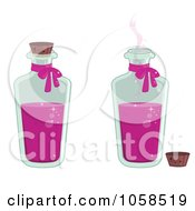 Royalty Free Vector Clip Art Illustration Of A Digital Collage Of Tall Bottles Of Love Potion by Melisende Vector