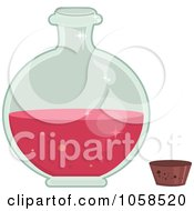 Royalty Free Vector Clip Art Illustration Of An Open Round Bottle Of Love Potion by Melisende Vector