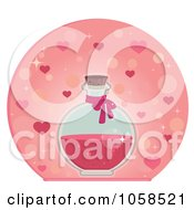 Royalty Free Vector Clip Art Illustration Of A Bottle Of Love Potion Over Hearts by Melisende Vector