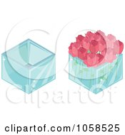 Royalty Free Vector Clip Art Illustration Of A Digital Collage Of 3d Vases And Roses
