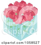 Royalty Free Vector Clip Art Illustration Of A 3d Glass Square Vase Of Pink Roses