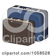 Royalty Free Vector Clip Art Illustration Of Brown And Blue Suitcases by Melisende Vector