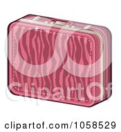 Royalty Free Vector Clip Art Illustration Of A Pink Zebra Print Suitcase by Melisende Vector