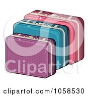 Royalty Free Vector Clip Art Illustration Of Purple Blue And Pink Suitcases by Melisende Vector