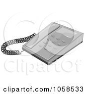 Royalty Free Vector Clip Art Illustration Of A Gray Desk Telephone by Melisende Vector