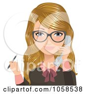 Royalty Free Vector Clip Art Illustration Of A Blond Secretary Holding A Pen And Answering A Phone