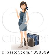 Royalty Free Vector Clip Art Illustration Of A Stylish Woman Waving By Her Luggage by Melisende Vector