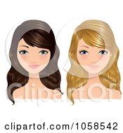 Royalty Free Vector Clip Art Illustration Of A Digital Collage Of Blond And Brunette Women by Melisende Vector