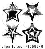 Royalty Free Vector Clip Art Illustration Of A Digital Collage Of Grungy Black And White Star Logos by michaeltravers