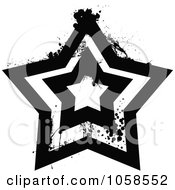 Grungy Black And White Star Logo 4