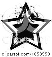 Royalty Free Vector Clip Art Illustration Of A Grungy Black And White Star Logo 1
