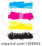 Royalty Free Vector Clip Art Illustration Of A Digital Collage Of Colorful CMYK Grunge Banners