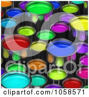 Royalty Free CGI Clip Art Illustration Of A Background Of 3d Paint Buckets Some Taller Than Others