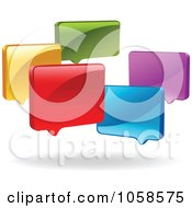 Royalty Free Vector Clip Art Illustration Of A Group Of Colorful 3d Live Chat Windows by yayayoyo