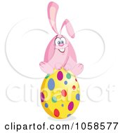 Royalty Free Vector Clip Art Illustration Of A Pink Easter Bunny Sitting On A Polka Dot Egg by yayayoyo