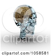 Royalty Free CGI Clip Art Illustration Of A 3d Brain In A Glass Skull 3 by Michael Schmeling