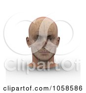 Royalty Free CGI Clip Art Illustration Of A 3d Skull And Brain Showing Through Transparent Skin On A Male Head 1