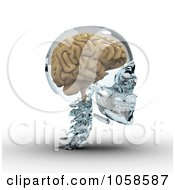 Royalty Free CGI Clip Art Illustration Of A 3d Brain In A Glass Skull 2