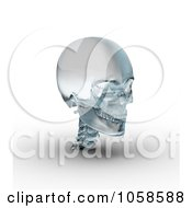 Royalty Free CGI Clip Art Illustration Of A 3d Frosted Glass Skull by Michael Schmeling