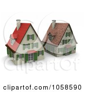 Royalty Free CGI Clip Art Illustration Of Two 3d Houses In Different States Of Renovation