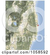 Royalty Free CGI Clip Art Illustration Of A Shaded Relioef Map Of Fukushima Japan