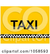 Yellow Background With A Checkered Line And Taxi Text