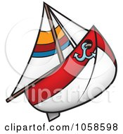 Royalty Free Vector Clip Art Illustration Of A Red And White Sailboat
