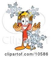 Clipart Picture Of A Paint Brush Mascot Cartoon Character With Three Snowflakes In Winter