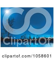Royalty Free Vector Clip Art Illustration Of A Moon In A Blue Night Sky Over A Still Pond by dero