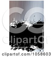 Royalty Free CGI Clip Art Illustration Of A Brushed Metal Splatter Background With Black Copyspace