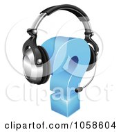 Royalty Free Vector Clip Art Illustration Of A 3d Question Mark Wearing A Customer Service Head Set
