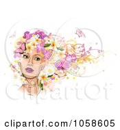Royalty Free Vector Clip Art Illustration Of A Womans Face With Pink Butterflies And Flowers In Her Hair by AtStockIllustration