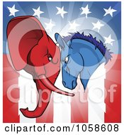 Royalty Free Vector Clip Art Illustration Of A Political Donkey And Elephant Facing Off Over An American Flag by AtStockIllustration