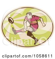 Royalty Free Vector Clip Art Illustration Of A Retro Kicking Rugby Player Logo