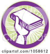 Royalty Free Vector Clip Art Illustration Of A Retro Hand Holding A Book In A Circle by patrimonio
