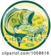 Royalty Free Vector Clip Art Illustration Of A Green Largemouth Bass And Frog Circle by patrimonio