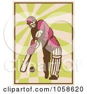 Retro Styled Cricket Batsman Batting