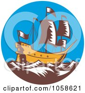 Royalty Free Vector Clip Art Illustration Of A Retro Styled Galleon Ship At Sea