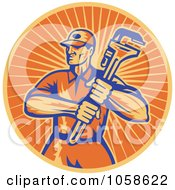 Royalty Free Vector Clip Art Illustration Of A Retro Orange Plumber And Wrench Logo