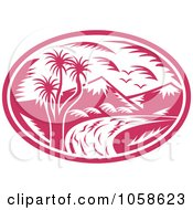 Royalty Free Vector Clip Art Illustration Of A Retro Pink Mountainous River Logo by patrimonio