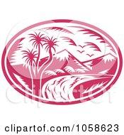 Royalty Free Vector Clip Art Illustration Of A Retro Pink Mountainous River Logo by patrimonio