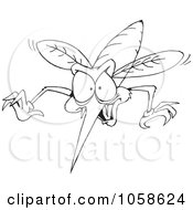 Royalty Free Clip Art Illustration Of A Coloring Page Outline Of A Mosquito by Dennis Holmes Designs